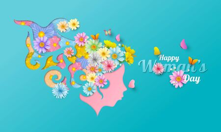 A variety of flowers are beautifully arranged, flowers on head, With the concept of women, vector illustation and design. Ilustração