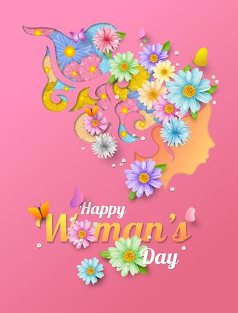 Happy women's day, universal conceptual banner for women, vector illustation and design.
