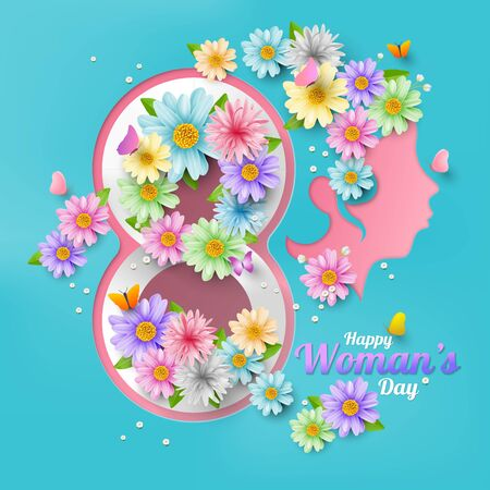 A variety of flowers are beautifully arranged, flowers on head, With the concept of women, vector illustation and design.