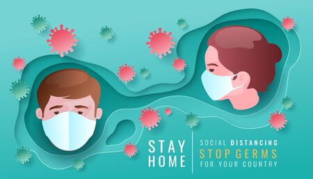 Women and men social distancing to prevent the spread of coronavirus covid-19. Art paper cutting style for advertisement. Vector illustration. Illustration