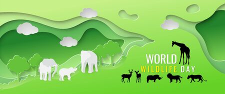 Herd of wildlife and the abundance of green forests, the concept of World Wildlife Day, vector illustration and paper art with digital craft style.