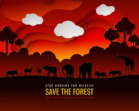 Stop the burning of forests to preserve forests and wildlife, the concept of environmental conservation in the world of forests. Vector illustration and paper art with digital craft style. Illustration