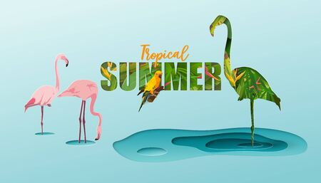Tropical, Summer background, Concept of conservation of nature, flamingos and wildlife, Vector illustration and paper art with digital craft style.