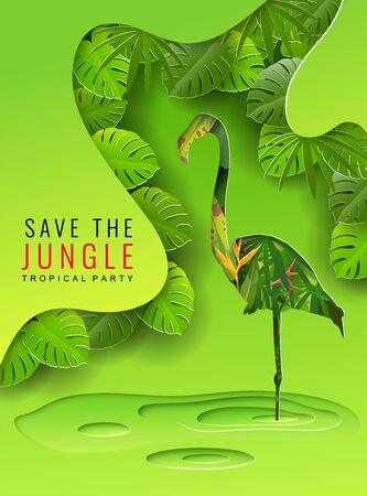 Save the Jungle background, Concept of conservation of nature, flamingos and wildlife, Vector illustration and paper art with digital craft style.