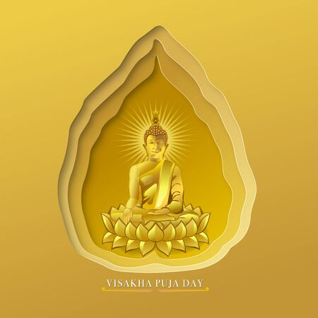 Visakha Puja Day, an important religious day for Buddhists all over the world, Buddhist concepts, Vector illustration and paper art with digital craft style.
