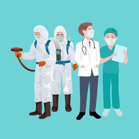 Public health team and doctors, nurses, Patient treatment concept And disease prevention, covid-18, vector illustration and design. Illustration
