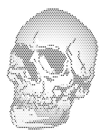 Abstract halftone with human body shape, skull head, vector illustration and simple design. Illustration