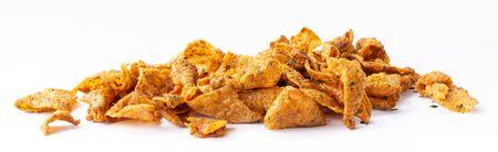 Crispy fried chicken skins, snacks and Thai food.