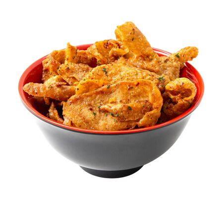 Crispy chicken skin on a red cup, snacks and Thai food