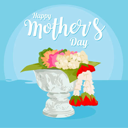 Jasmine garland on the tray with pedestal, and the tradition of Thailand to celebrate Mother's Day and Songkran festival in Thailand, Vector illustration and design. Illustration