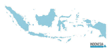 Indonesia Map Screen Printing Techniques, Vector illustration and Design.