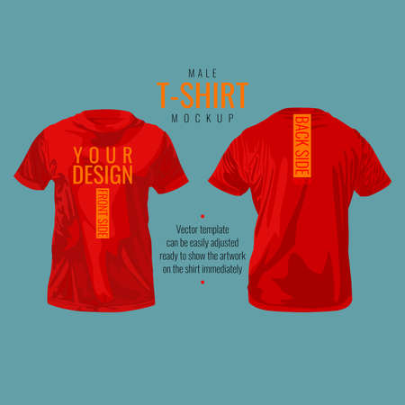 Male T-shirt template and mockup, vector illustration design.