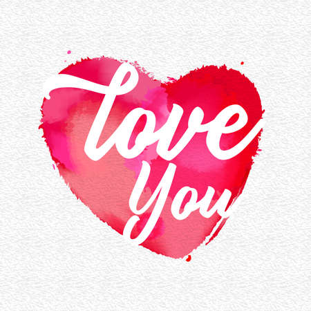 Love you message on a heart shape with watercolor writing on paper. Vector illustration and design.