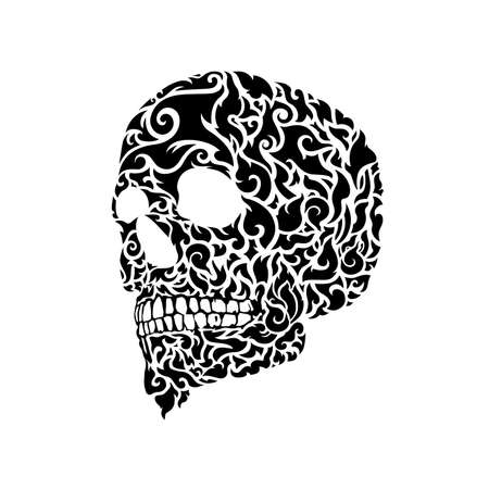 Thai Traditional art skull pattern adapted to be a modern tattoo, Vector illustration and design.