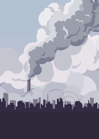 Toxic smoke from industrial factories floating in the air. Causing pollution, destroying the environment And the health of the population of large cities, Vector illustration and flat design.
