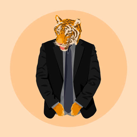 A tiger dressed in a suit is like a businessman with strong determination. Vector illustration and design.