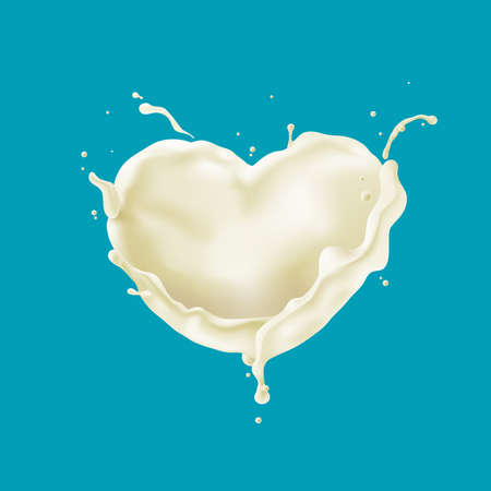 Abstract heart shaped milk splashes, Vector illustration and design.