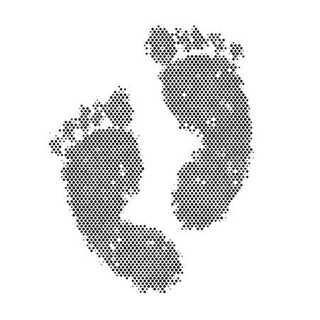 Human footprints with halftone technique, vector illustration and design.