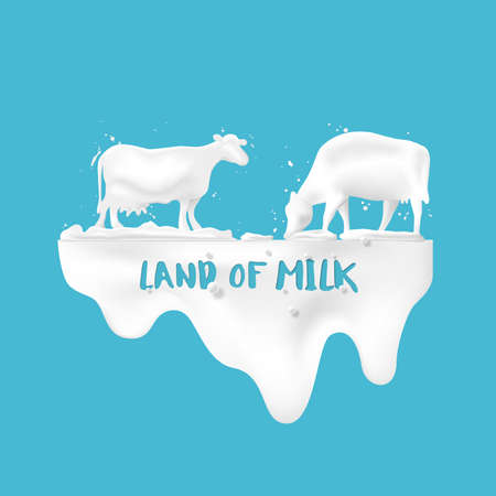 Abstract pour milk and with cows in the meadow, concept of dairy products for advertising, vector illustration and design.