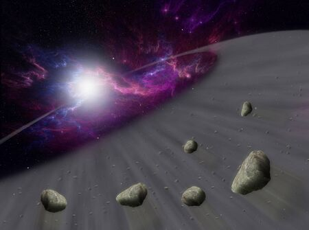 meteors: Sun with asteroids in universe or space, Globe and galaxy in a cloud with meteors Stock Photo