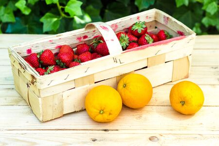 mellow: Fresh ripe oranges and red strawberries in woodek basket on wooden background. Exotic juicy mellow fruit Stock Photo
