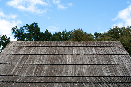 Wooden roof  on blue sky
