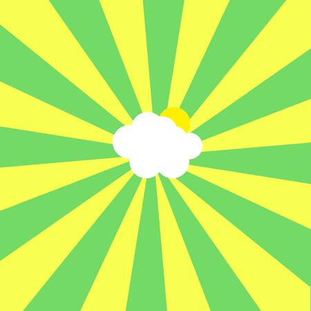 Abstract Illustration of cloud and sun in center of yellow and green sunbeams on sky