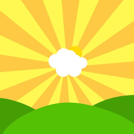 Abstract Illustration of cloud and sun in center of yellow and orange sunbeams on sky over green hills Stock Photo
