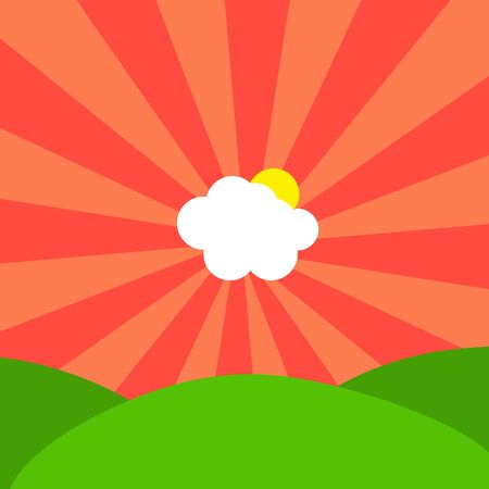 Abstract Illustration of cloud and sun in center of red sunbeams on sky over green hills
