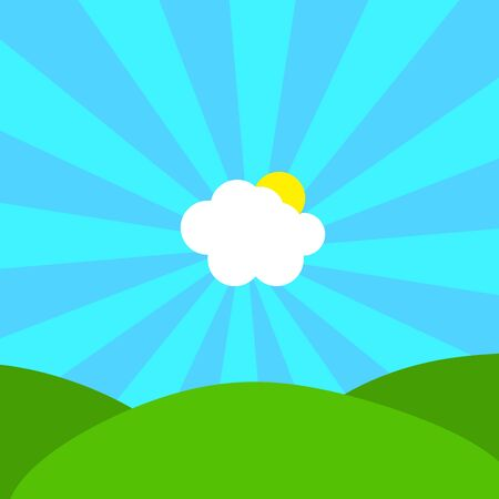 Abstract Illustration of cloud and sun in center of the sunbeams on blue sky over green hills