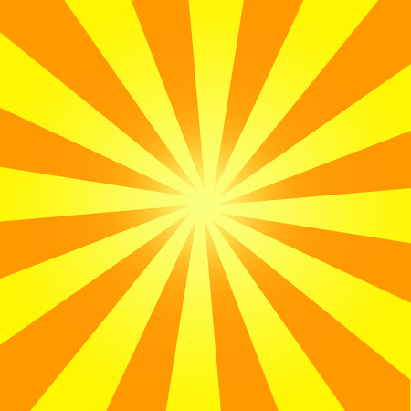 Abstract Illustration orange sunbeams from center on yellow sky Stock Photo
