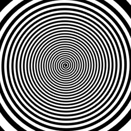 Black and white hypnotic spiral vortex.