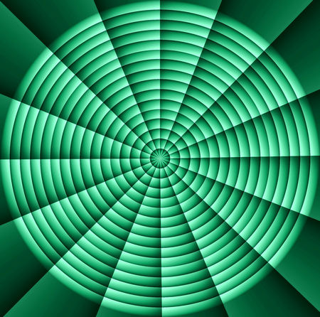 abandonment: Spider web, hypnotic spirals, military sign crosshair: green Stock Photo