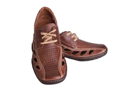 Brown men shoes for old men Stock Photo