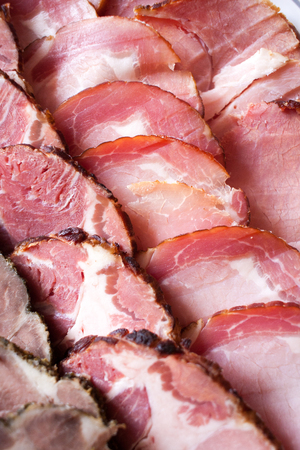 Meat slices detail close up Stock Photo