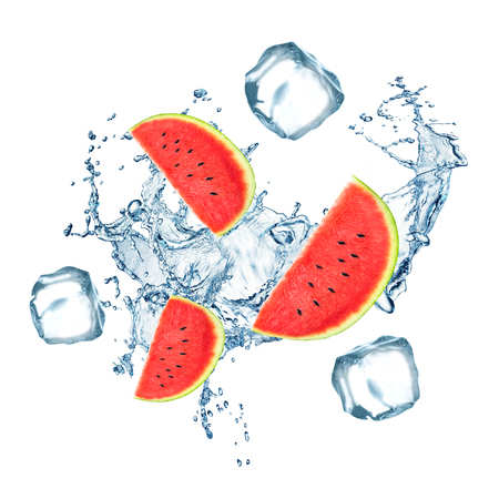 Cantaloupe: Fresh watermelon fruits falling in water with splash and ice cubes on white background.
