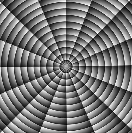 Spinnenweb, hypnotiserende spiraal, militair tekenkruis. Grijs