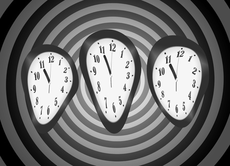 Distorted clocks for the concept of time warp isolated on psychedelic psycho spiral background Stock Photo
