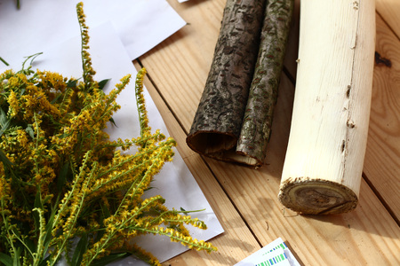 Drying herbs on wooden background and wooden logs. Simply beautiful composition Stock Photo