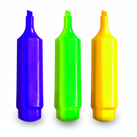 3 Colorful Pen markers - blue, green and yellow. Happy childhood for children at school or kindergarten Stock Photo