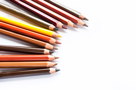 Lots of colorful pencils on white background