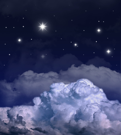 Dark night with many stars and clouds. Pole star