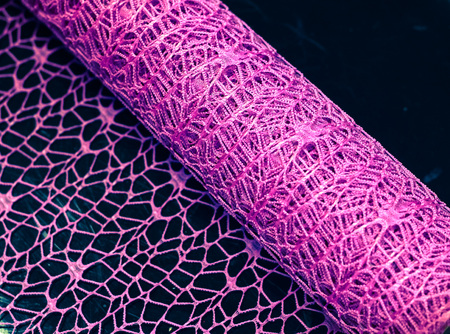Colorful purple decorative net cloth for decorating flowers. Pattern, rolled up