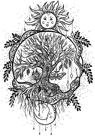 Original hand drawn picture illustration with white sun, the tree of the life and the moon. Symbols of the eternity. Black and white