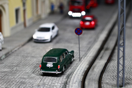 POLAND, WROCLAW, 30 April, 2017: Stacyjkowo, train model maquette, mock up elements Editorial