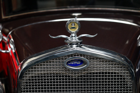 POLAND, OTREBUSY, 31 March 2017: Old classic Ford logo close up