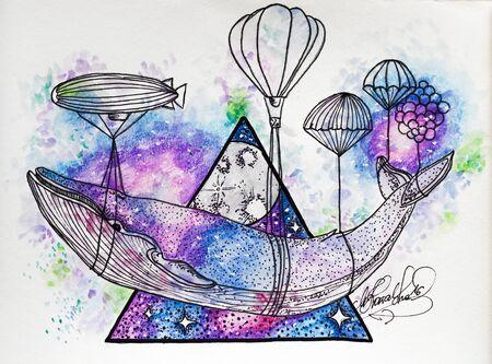 Hand getekend schilderij van een grote walvis gedragen door zeppelins. Ruimte driehoek vorm. Surrealistische visie