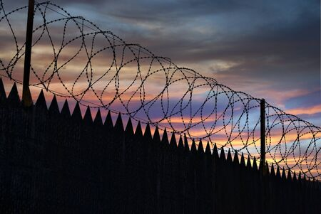 Barbed wire. Fence. Stock Photo - 15373536
