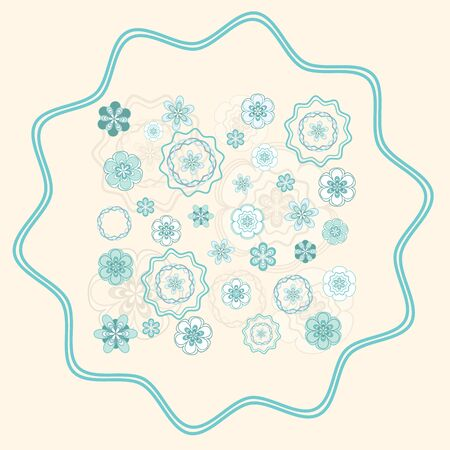 greenish blue: Greenish blue and white floral design on light beige background