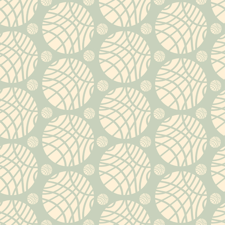 pale green: Seamless Pattern of Big and Small Striped Ivory Spheres on Pale Green Background Illustration